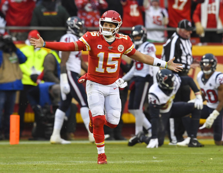 Kansas City Chiefs quarterback Patrick Mahomes celebrates after his team defeated the Houston Texans 51-31 last Sunday.