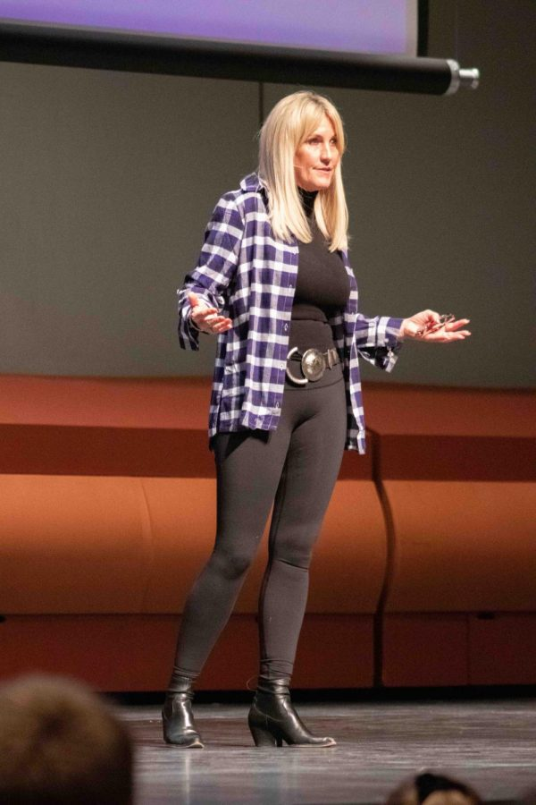 """Environmental activist and advocate Erin Brockovich delievered the final Leopold Lecture of the school year, """"The Power of One, on Feb. 25."""