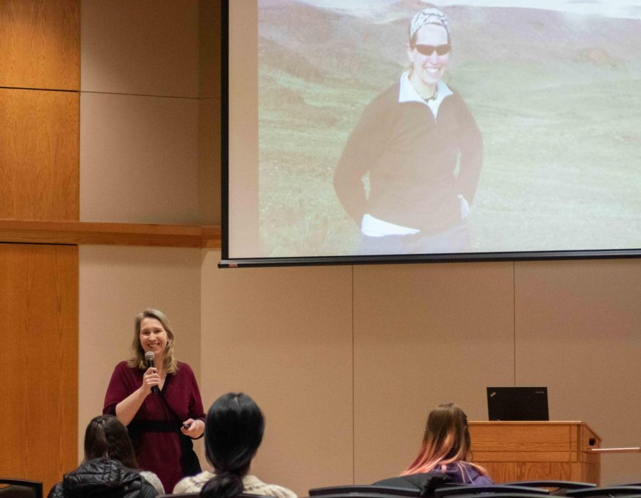 Author and eating disorder awareness speaker Kara Whitely gave a presentation on Tuesday, Feb. 25, discussing how she overcame binge eating disorder to become a successful mountain climber.