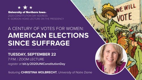 "Professor Christina Wolbrecht hosts Zoom presentation annual Constitution Day Address over Zoom based on her new co-authored book ""A Century of Votes for Women."""