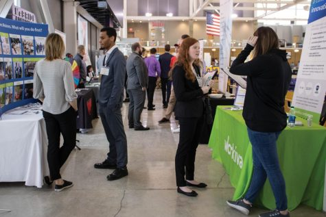 Students attend the spring 2020 Career Fair. This fall, due to COVID-19, the career fair will be held virtually