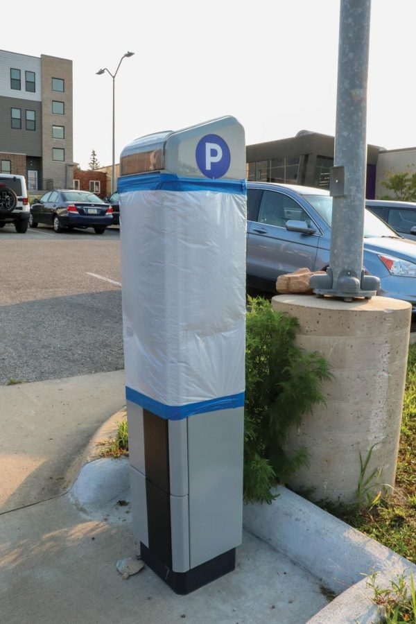 One of the new Pay Station Smart Meters, which patrons an now use in the College Hill area.