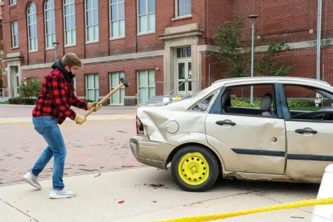 Marketing Strategy students hosted a car smash event outside Maucker Union.