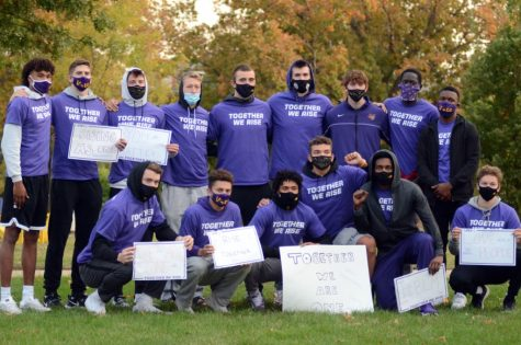 "UNI student-athletes gather in protest of social and racial justice as part of their UNIty Walk. The theme of the event was ""Together We Rise"""