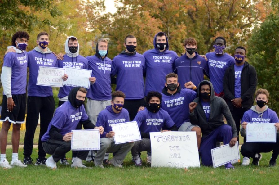 UNI student-athletes gather in protest of social and racial justice as part of their UNIty Walk. The theme of the event was