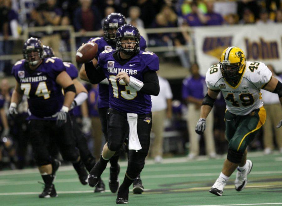 UNI quarterback Pat Grace escapes pressure form the NDSU defense on Oct. 18, 2008. The Panthers defeat the Bison 23-13.