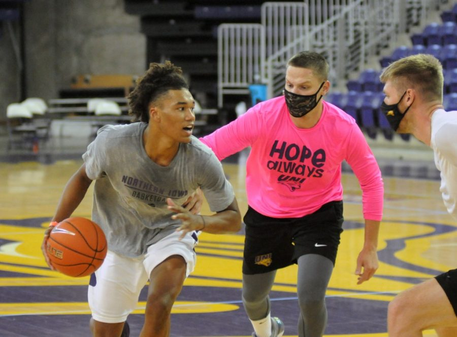 The UNI's men's basketball team has had to make many adjustments regarding testing, sanitization and other measures as a result of coronavirus protocols.