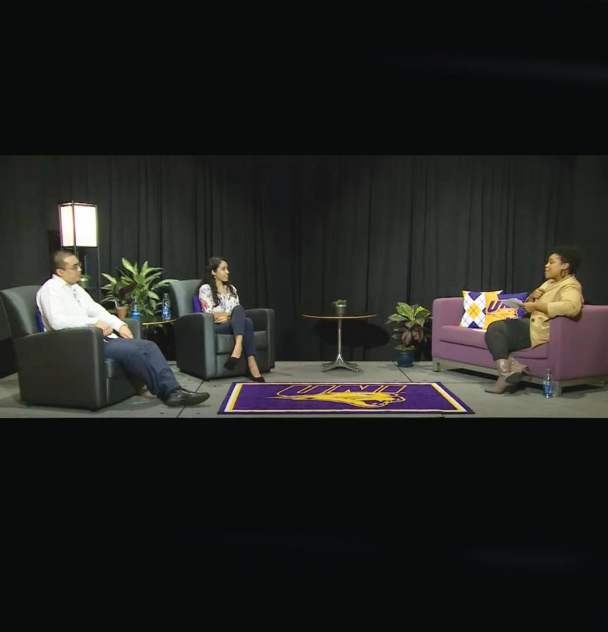 Students Mohammed Rawwas and Laura Roman Jimenez of the Racial and Ethnic Coalition (REC) participate in a Purple Couch Courageous Conversation on November 11 with moderator Jamie Butler Chidozie.