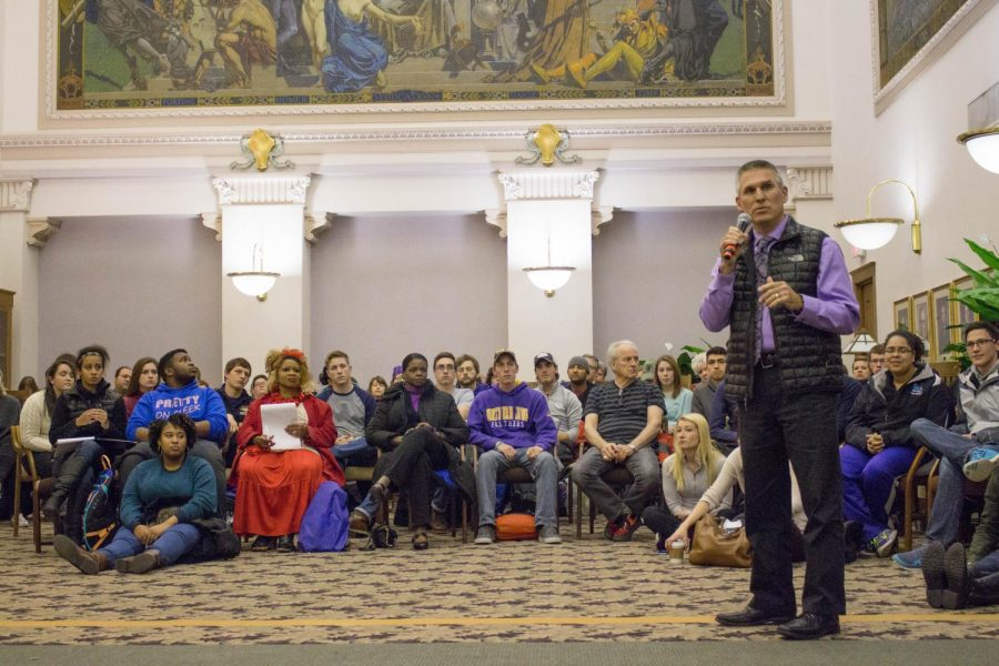 Provost Jim Wohlpart addresses students, administration, faculty and staff at a Nov. 2015 meeting discussing discrimination and systemic racism on campus. Wohlpart will leave UNI in June to become the next president of Central Washington University.