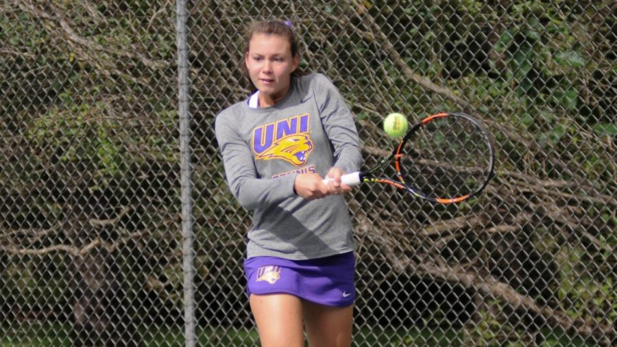 UNI's Thaissa Moreira was able to pull off a doubles victory with her partner Valentina Caro against Saint Louis University over the weekend.