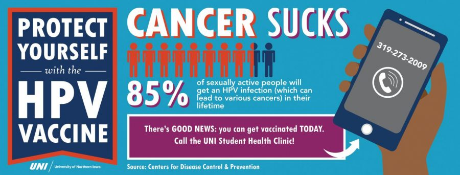 UNI Student Wellness Services provides information on HPV, its symptoms and the available of vaccines on UNI's campus.