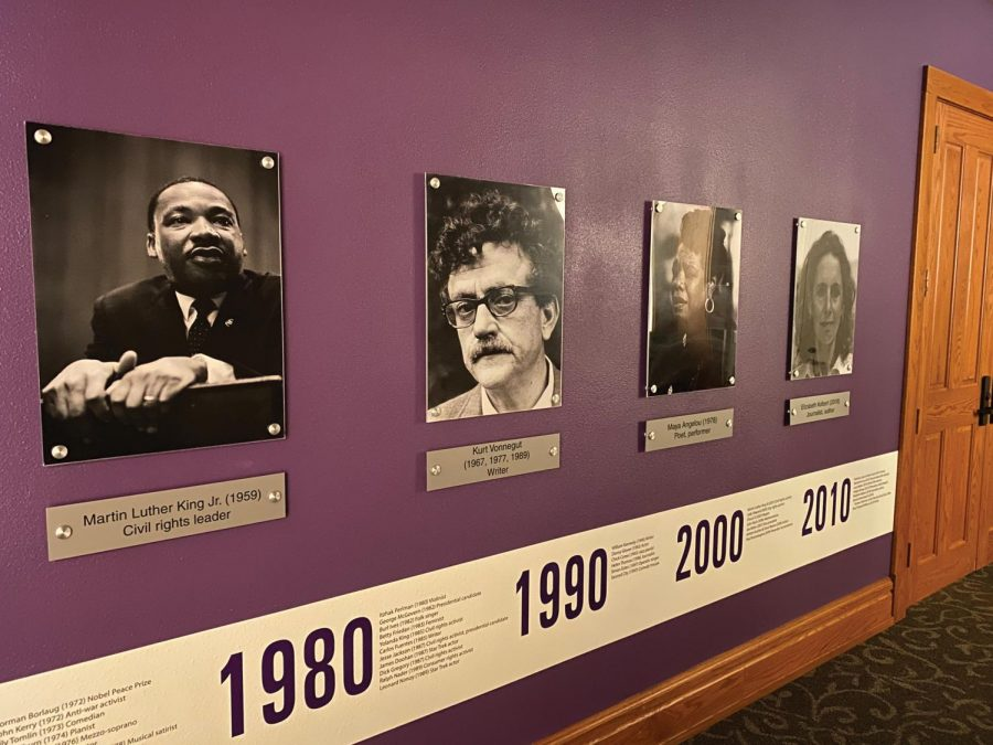 Just outside the Lang Hall auditorium, there is a  historical exhibit displaying notable historical figures who have visited and spoken in the auditorium.