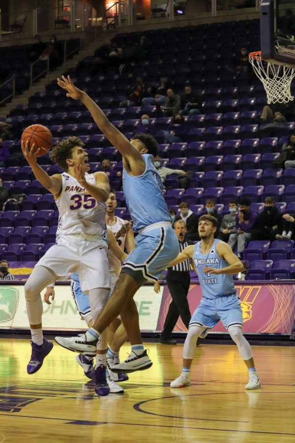 Noah Carter attempts a shot vs Indiana State. He finished Sundays game with a team-high 25 points in UNI 70-67 victory.
