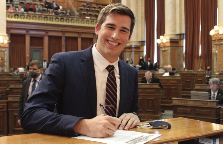 UNI student and newly elected Representative Carter Nordman introduces new bill that would require in-person spring commencements.