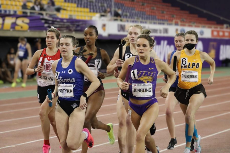 The UNI women's track & field ream finished third place over the weekend at the MVC conference championship hosted at the UNI-Dome