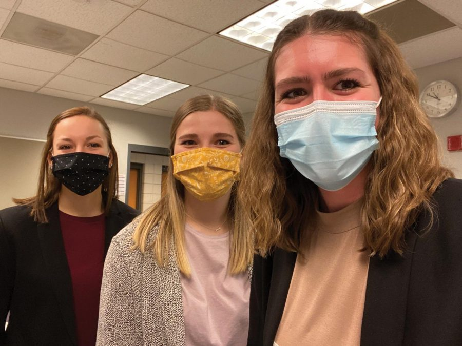 Lynn Kleyer, Kara Hooper, and MacKenzie Helle are all smiles as they win second-place awards at the National Case Study Competition in Health Education.