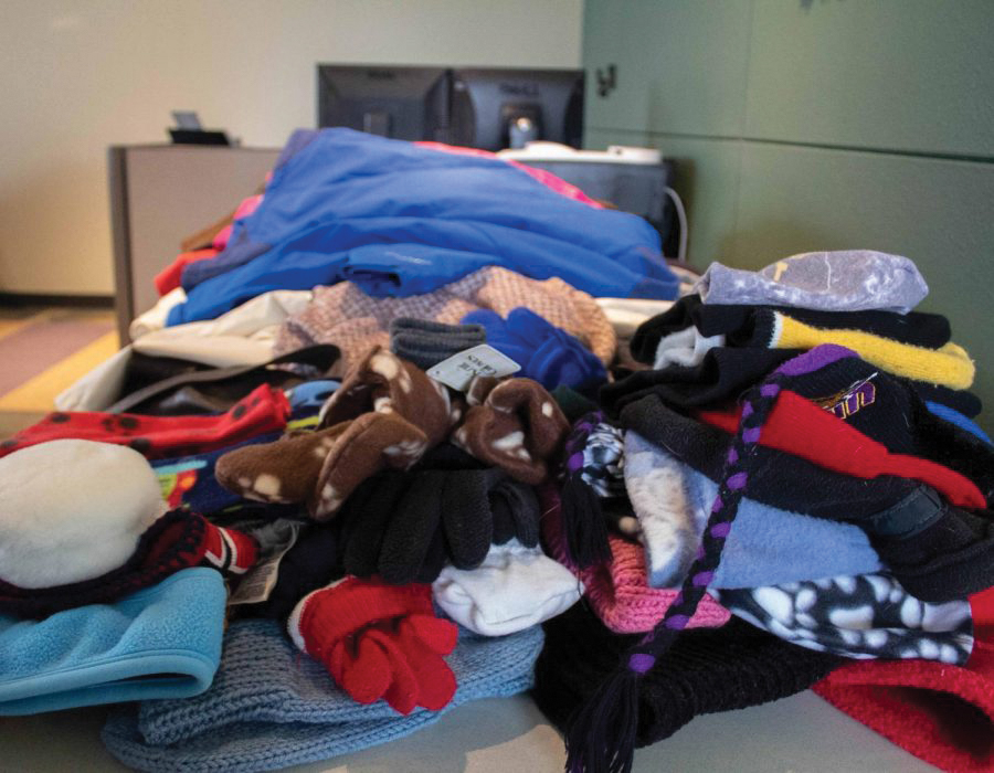Coats, gloves and other articles of winter clothing are available for free in the ISSO.