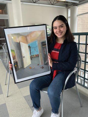 """Jessica Vázquez es estudiante y líder para el departamento de arte aquí en UNI. Aquí, ella presenta su obra, """"Esencial,"""" que creó durante COVID-19."""