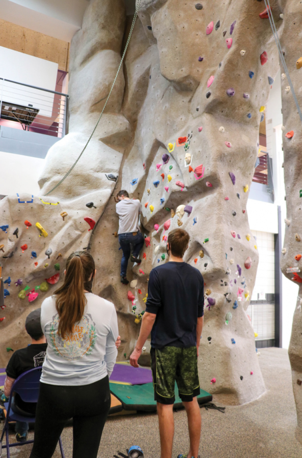 Students took to the WRC's boulder wall to compete in UNI Outdoors'