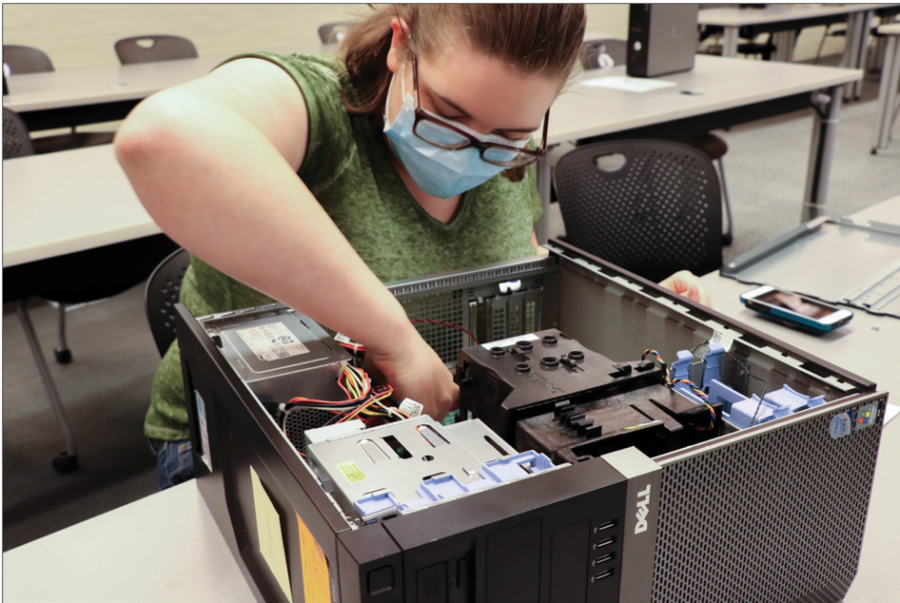 With the help of provided manuals, students were able to take apart and rebuild surplus computers during