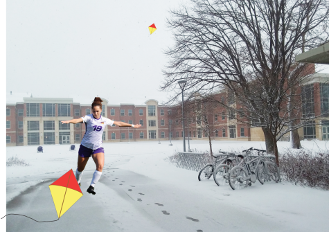 Student athletes urge peers to embrace the wind and ice and cheer them on in their kite flying and ice skating seasons.