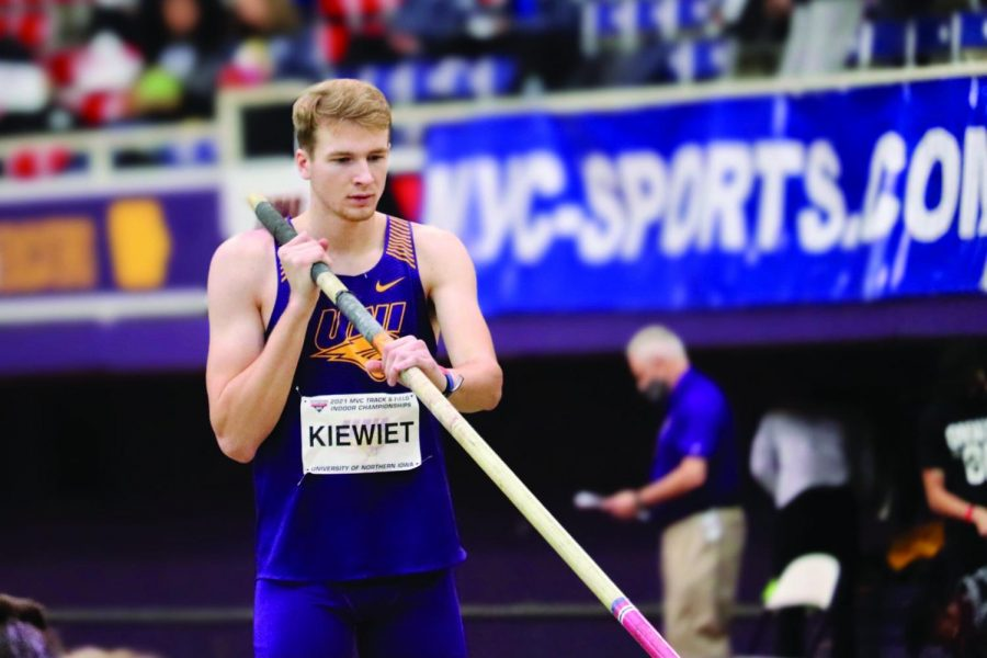 UNI's Parker Kiewiet earned a first place victory in the long jump with a leap of 23 feet, four inches, which beat out the second place finisher by just two inches.