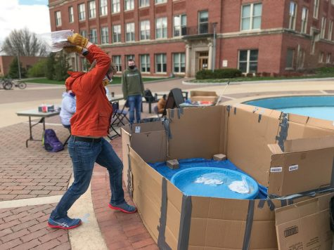 Students got the chance to let off some steam by smashing plates outside Maucker Union.