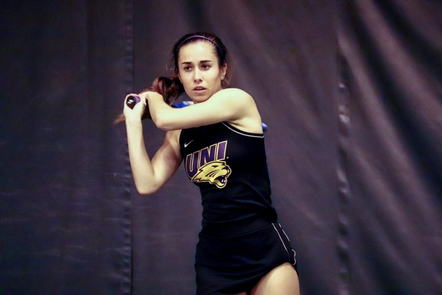 UNI's Valentina Caro was one of four Panther seniors who were honored for their last home meet of their career.