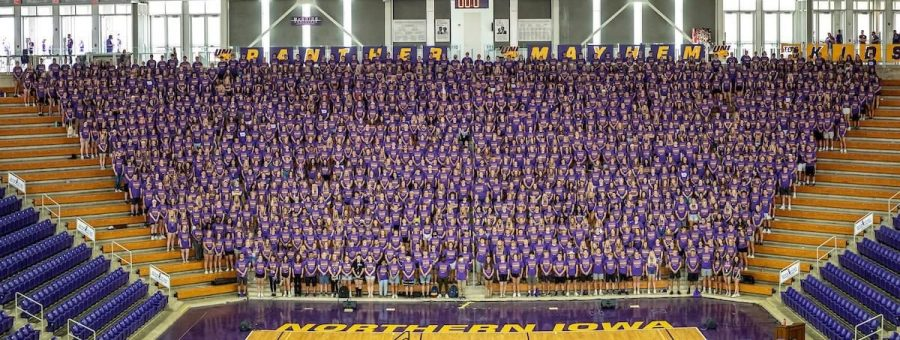 The incoming class of 2025 gathers for a group photo in the McLeod Center during UNI Now! and Panther Kick off. Although the group photos of freshman are typically taken in the UNI-Dome, the McLeod Center offered better social distancing.