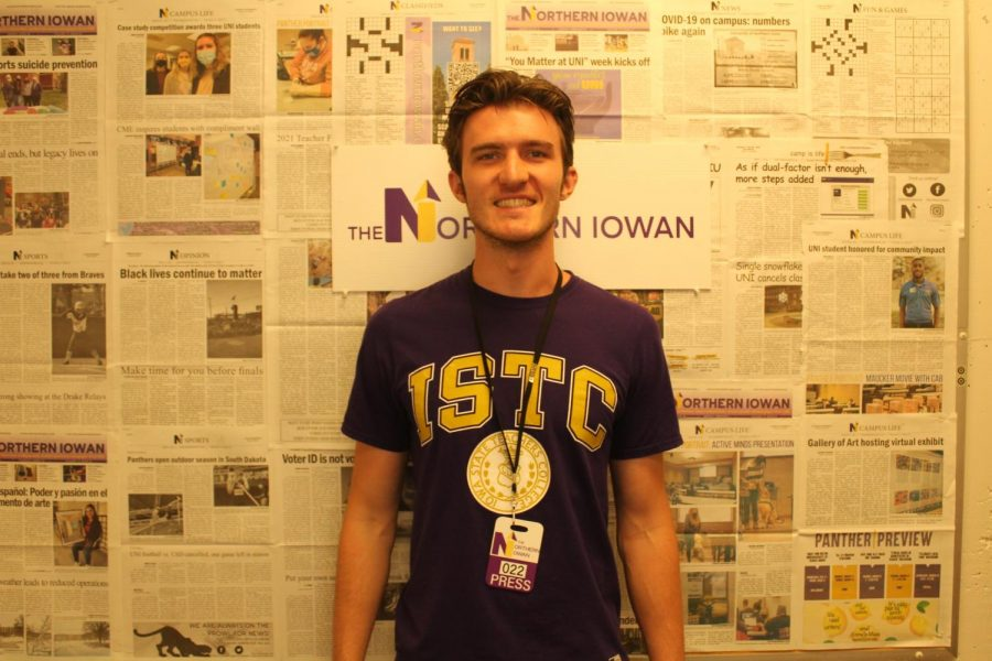 Pictured is Colin Horning, the sports editor & opinion columnist for the Northern Iowan newspaper.