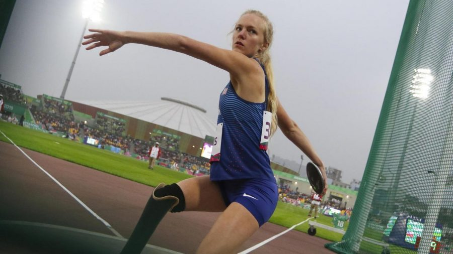 Jessica Heims stood out as both a sprinter and discuss thrower while at UNI. She participated in the discuss throw in the 2020 Paralympics.