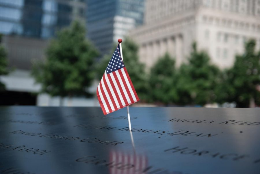 Pictured is a flag that was planted to memorialize victims of the 9/11 victims.