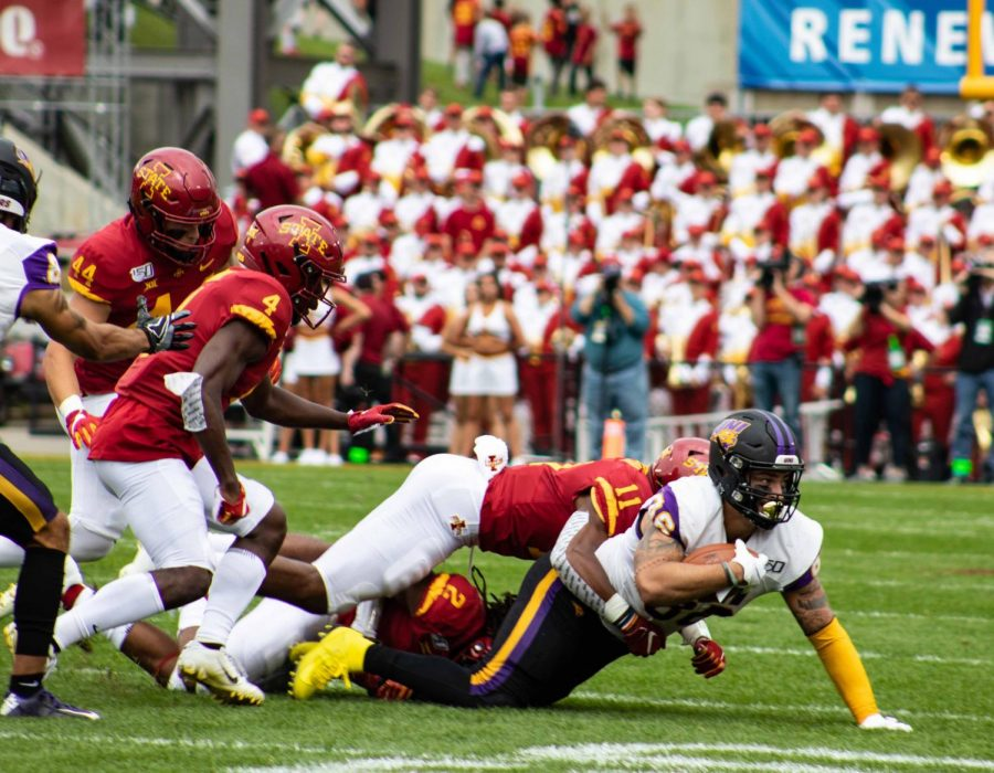 Northern Iowas Quan Hampton clears the endzonea\ after a 52-yard catch-and-run in the first quarter against Iowa State, putting the Panthers up 7-0 early on in the contest at Jack Trice Stadium.