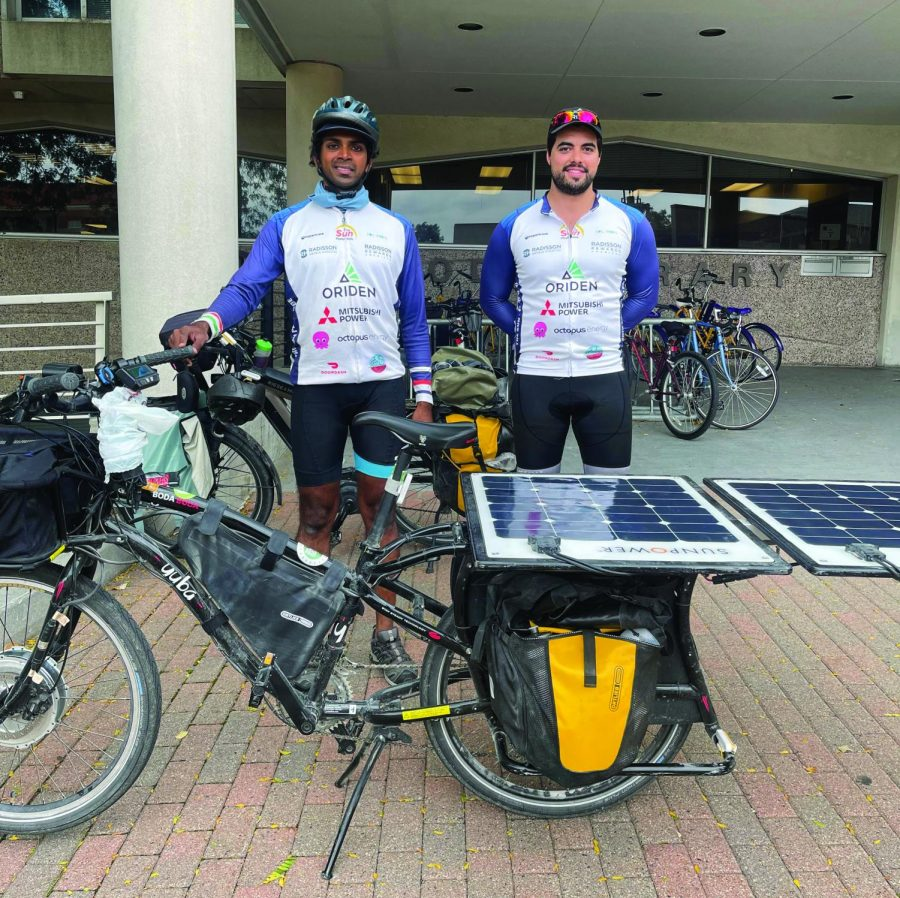 Bikers traveled through UNIs campus Monday afternoon on their 6,900 mile journey across the United States.