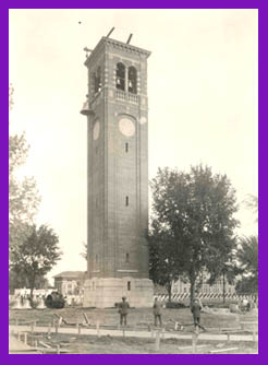 The campanile not yet finished by homecoming in 1926. Discussions to build a campanile started by alumni in the first homecoming in 1920.