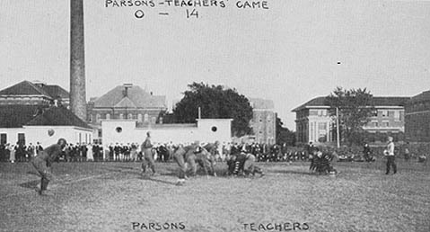 In 1920 the Iowa State Teachers College had its first homecoming football game against Parsons College, winning 14-0.