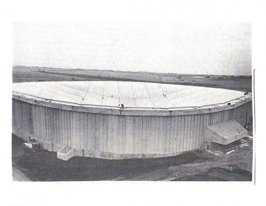 The Dome is ready to become a reality. This photo is from Nov. 4, 1975. This is a picture of the UNI-Dome deflated taken on the northwest corner.