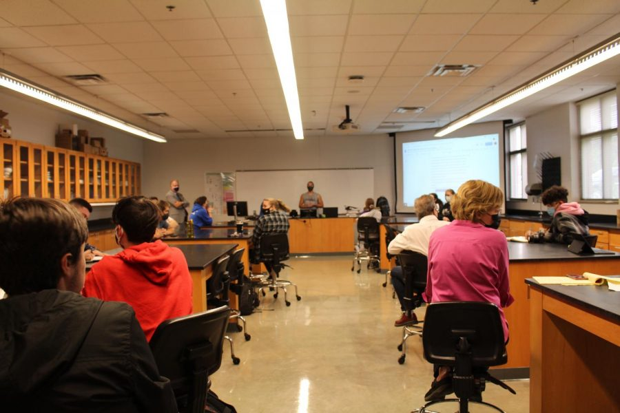 Students of OKane, faculty and administration meet the discuss issues concerning OKane removal from the classroom.